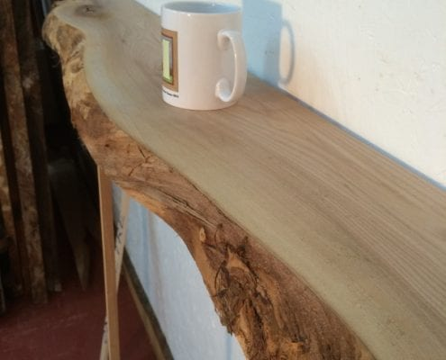 ELM 5cm thick - Single Waney Natural Live Edge Slab Planed Hardwood Kiln Dried Seasoned Board Fireplace Mantel Shelf