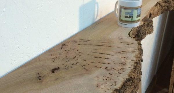 BURRY ELM 5.5cm thick - tree number 1113A-13 Single Waney Natural Live Edge Slab Planed Hardwood Kiln Dried Seasoned Board Fireplace Mantel Shelf
