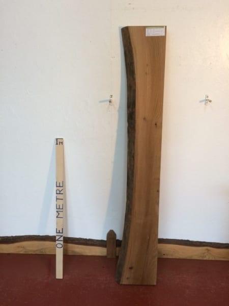 ELM 6.5cm thick - tree number 1111 Single Waney Natural Live Edge Slab Planed Hardwood Kiln Dried Seasoned Board Fireplace Mantel Shelf