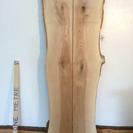 OLIVE ASH SET 4.2cm thick - tree number 1346 Natural Waney Live Edge Slab Board Kiln Dried Planed Seasoned Hardwood Bookmatched Table Set