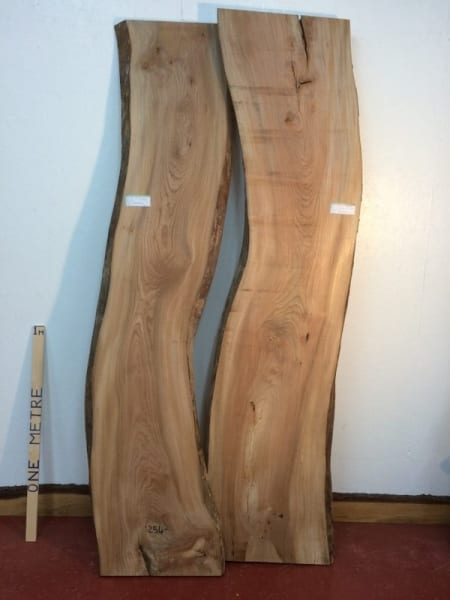 ELM Bookmatched Set 5.2cm thick - tree number 1254 Natural Waney Live Edge Slab Board Kiln Dried Planed Seasoned Hardwood Wildwood Table top