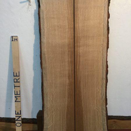 OAK QUARTER SAWN BOOKMATCHED SET 3cm thick - tree number 1395 Natural Waney Live Edge Slab Planed Hardwood Kiln Dried Seasoned Board