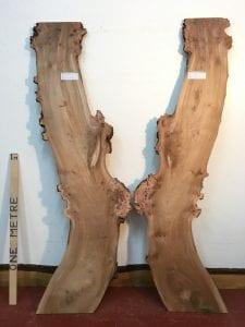 BURRY ELM 2.2cm thick - tree number 1484B Natural Waney Live Edge Slab Wood Board Kiln Dried Planed Seasoned Hardwood Wildwood Local Sustainable Timber