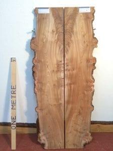 BURRY ELM 3cm thick - tree number 1480B Natural Waney Live Edge Slab Wood Board Kiln Dried Planed Seasoned Hardwood Wildwood