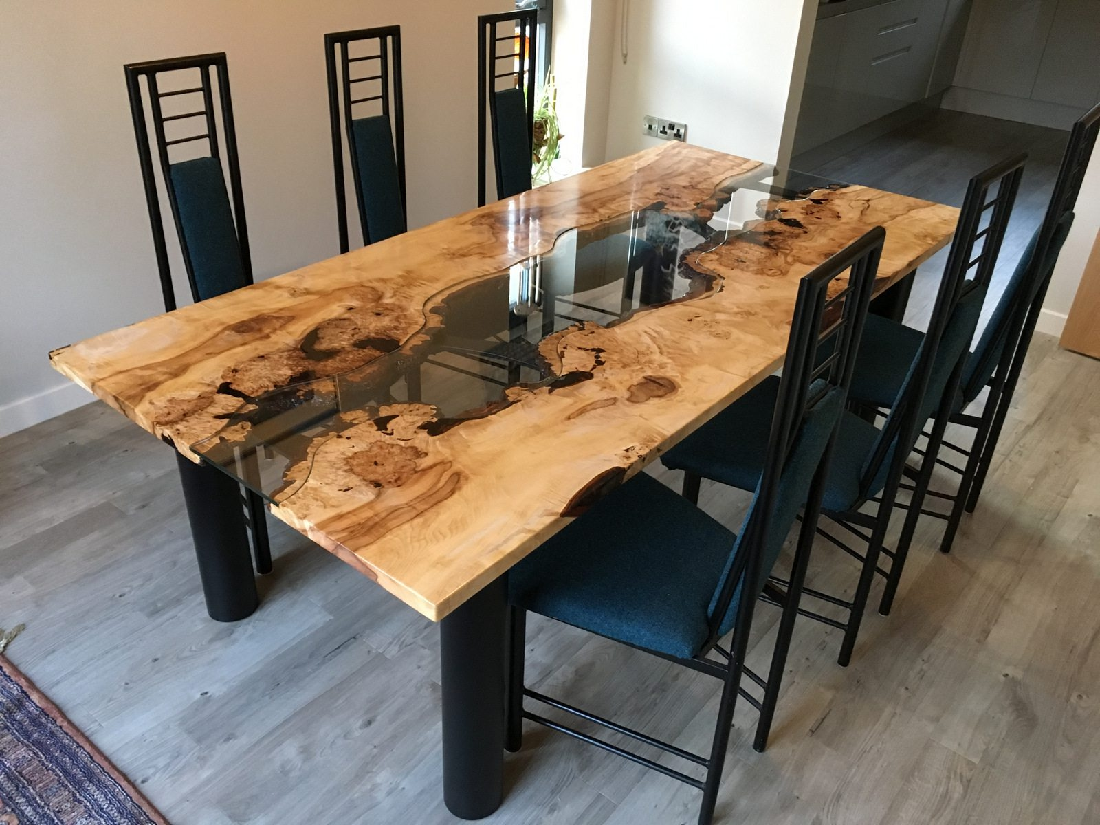 Beech And Glass Dining Table