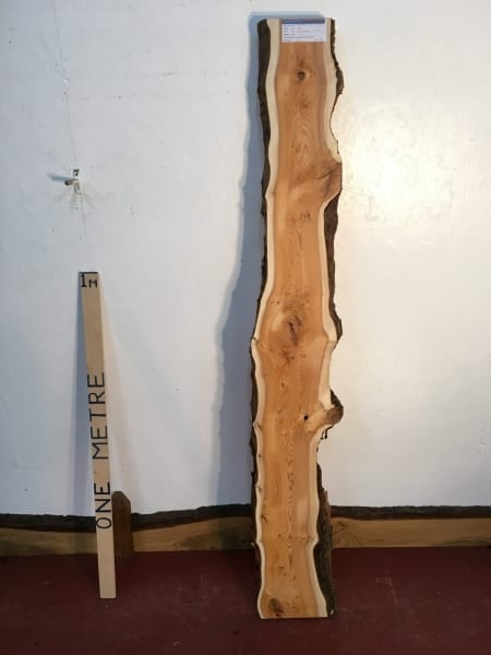 PIPPY YEW 3.2cm thick - tree number 1454A Natural Waney Live Edge Slab Wood Board Kiln Dried Planed Seasoned Hardwood Wildwood