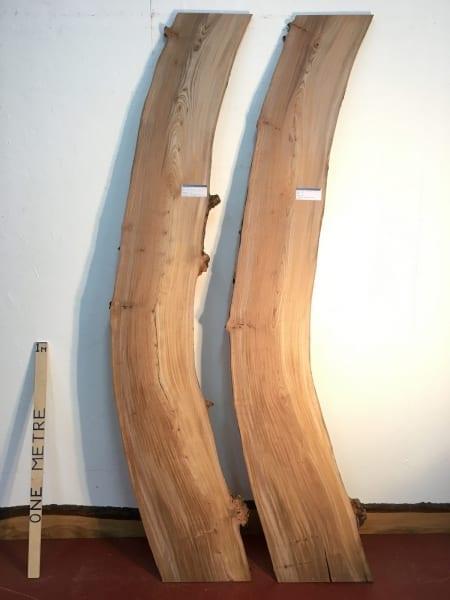 ELM 2.7cm thick - tree number 1492 Natural Waney Live Edge Slab Wood Board Kiln Dried Planed Seasoned Hardwood Wildwood
