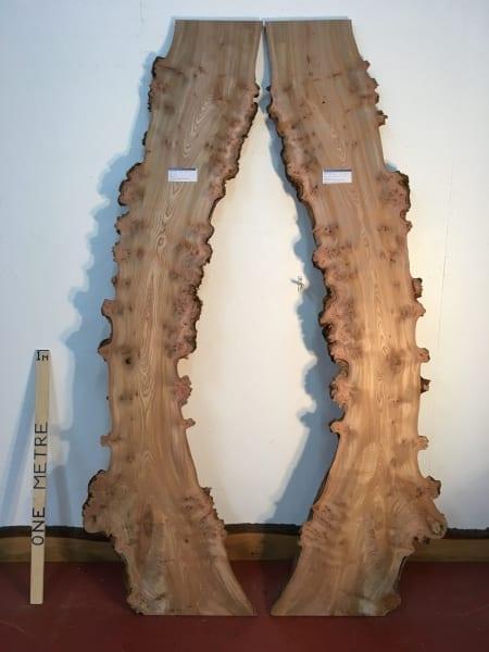 BURRY ELM 2.7cm thick - tree number 1481 Natural Waney Live Edge Slab Wood Board Kiln Dried Planed Seasoned Hardwood Wildwood