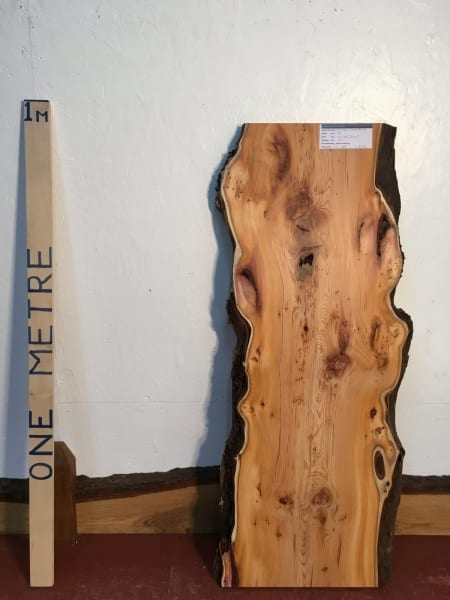 PIPPY YEW 2.7cm thick - tree number 1519 Natural Waney Live Edge Slab Wood Board Kiln Dried Planed Seasoned Hardwood Wildwood