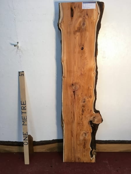 PIPPY YEW 3cm thick - tree number 1507 Natural Waney Live Edge Slab Wood Board Kiln Dried Planed Seasoned Hardwood Wildwood