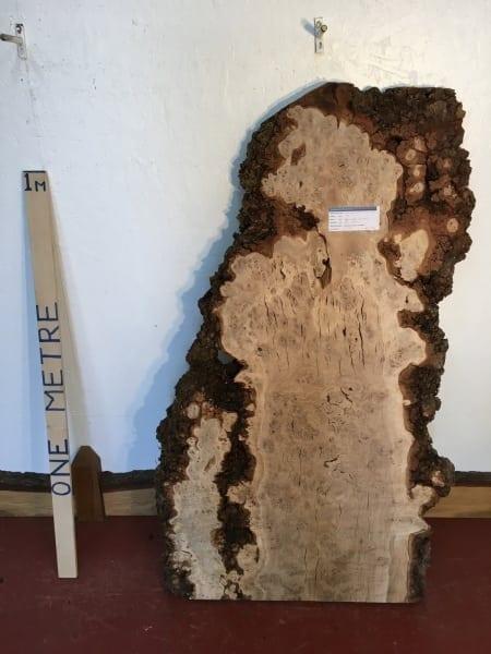 BURR OAK 4.5cm thick - tree number 1272- Natural Waney Live Edge Slab Board Kiln Dried Planed Seasoned Hardwood Wildwood Coffee Table Top