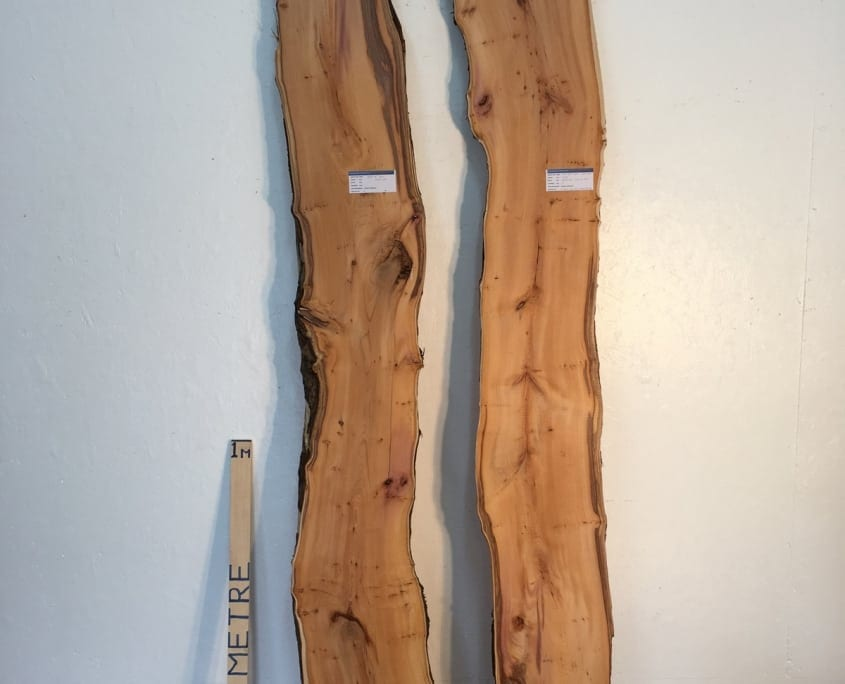 PIPPY YEW REVERSE BOOKMATCHED SET 3cm thick - tree number 1526 Natural Waney Live Edge Slab Wood Board Kiln Dried Planed Seasoned Hardwood