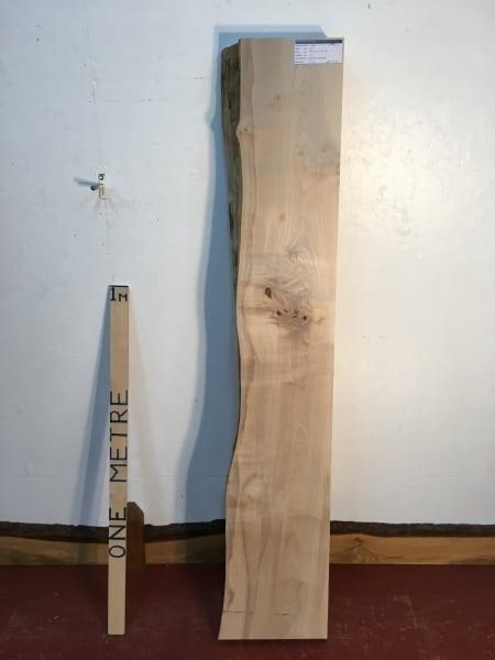 MAPLE 1257A-2 Single Waney Natural Live Edge Slab Planed Hardwood Kiln Dried Seasoned Board Thickness 11.5cm Fireplace Mantel Shelf Rustic Character