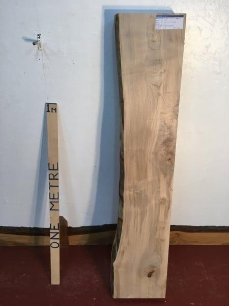 MAPLE 1257B-2 Single Waney Natural Live Edge Slab Planed Hardwood Kiln Dried Seasoned Board Thickness 11.5cm Fireplace Mantel Shelf