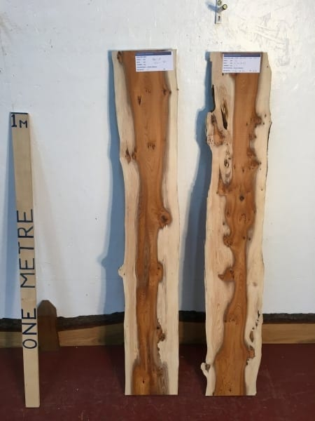 PIPPY YEW 1510-1 Natural Live Waney Edge Slab Wood Board thickness 2.5cm Kiln Dried Planed Seasoned Hardwood Wildwood River Set