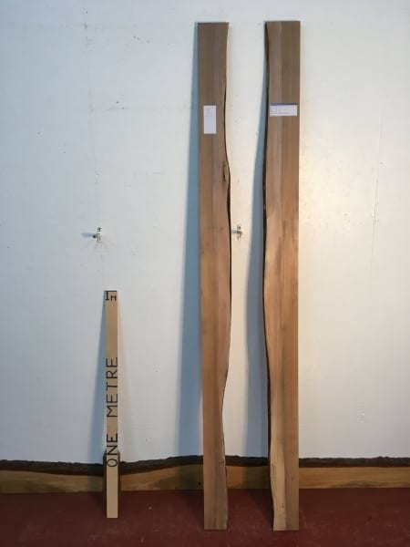 ELM 1502A-3 Set Single Waney Natural Live Edge Planed Kiln Dried Seasoned Hardwood Board Thickness 2.5cm Shelves River Tables Mirrors