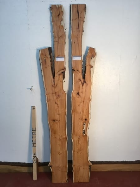 YEW Bookmatched Set 1459C-1/2 Natural Live Waney Edge Slab Wood Board thickness 3cm Kiln Dried Planed Seasoned Hardwood Wildwood