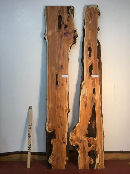 YEW 1515A-3/4 REVERSE BOOKMATCHED SET Natural Waney Live Edge Slab Wood Board thickness 4.5cm Kiln Dried Planed Seasoned Hardwood Wildwood Tabletops River Tables