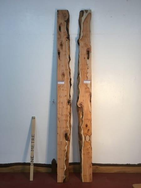 YEW 1529-1/3 RIVER SET Natural Waney Live Edge Slab Wood Board thickness 4.8cm Kiln Dried Planed Seasoned Hardwood Wildwood Tabletops River Tables Shelves