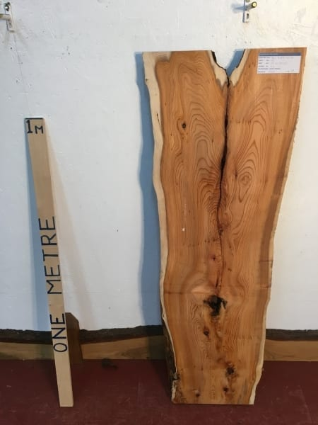 YEW 1511-6B Natural Waney Live Edge Slab Wood Board thickness 4.5cm Kiln Dried Planed Seasoned Hardwood Wildwood Coffee Tabletops