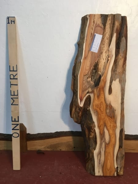 YEW 1511-1B Natural Waney Live Edge Slab Wood Board thickness 4cm Kiln Dried Planed Seasoned Hardwood Wildwood