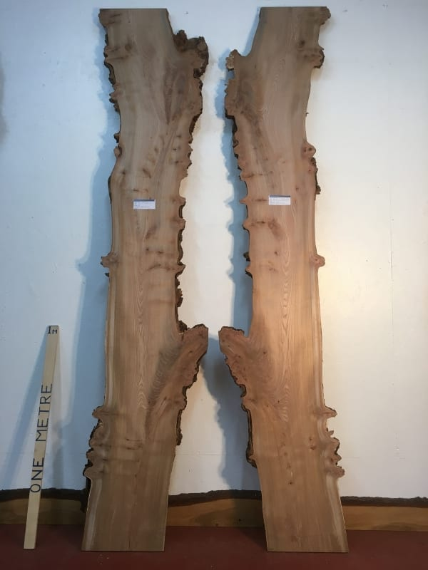 BURRY ELM 1475B-3/4 Bookmatched set Waney Natural Live Edge SlabS Planed Hardwood Kiln Dried Seasoned BoardS 4.5cm thick Tabletops River Tables Headboards
