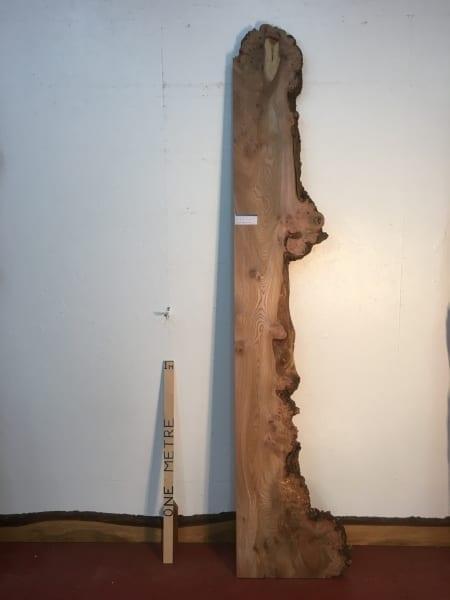 BURRY ELM 1475A-3 Single Waney Natural Live Edge Slab Planed Hardwood Kiln Dried Seasoned Board 4.5cm thick Shelf Headboard Wildwood