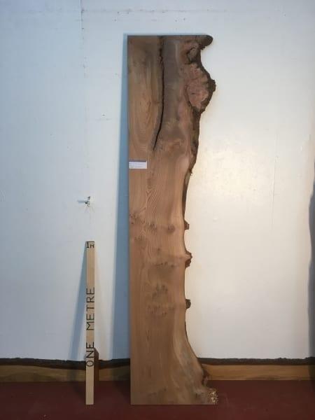 BURRY ELM 1475A-5 Single Waney Natural Live Edge Slab Planed Hardwood Kiln Dried Seasoned Board 4.5cm thick Shelf Headboard Wildwood