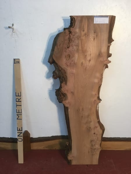 BURRY ELM 1475B-5A Natural Waney Live Edge Slab Planed Hardwood Kiln Dried Seasoned Board 4.5cm thick Wildwood