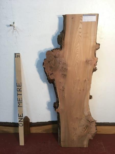 BURRY ELM 1475B-5B Natural Waney Live Edge Slab Planed Hardwood Kiln Dried Seasoned Board 4.5cm thick Wildwood