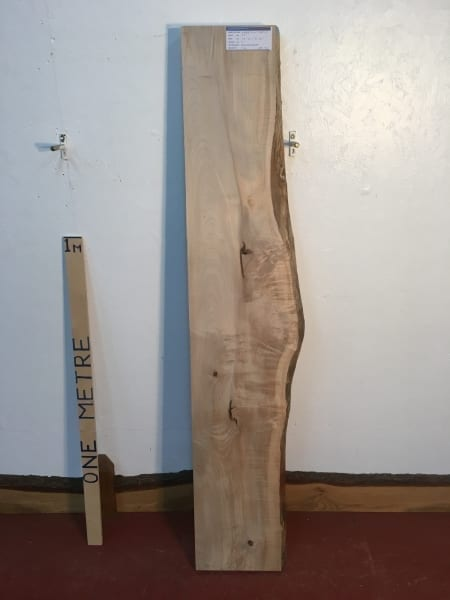 FIGURED MAPLE 1266B-2 Single Waney Natural Live Edge Slab Planed Kiln Dried Seasoned Hardwood Board Thickness 7cm Fireplace Mantel Shelf