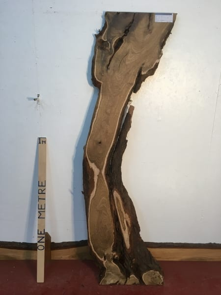 LABURNUM 1321-0 Natural Waney Live Edge Slab Wood Board thickness 3.2cm Kiln Dried Planed Seasoned Hardwood Wildwood