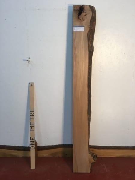 ELM 1373-5 Single Waney Natural Live Edge Slab Planed Hardwood Kiln Dried Seasoned Board 7cm thick Shelf Fireplace Mantel