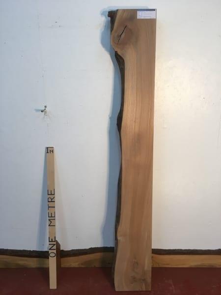 ELM 1373-4 Single Waney Natural Live Edge Slab Planed Hardwood Kiln Dried Seasoned Board 7cm thick Shelf Fireplace Mantel