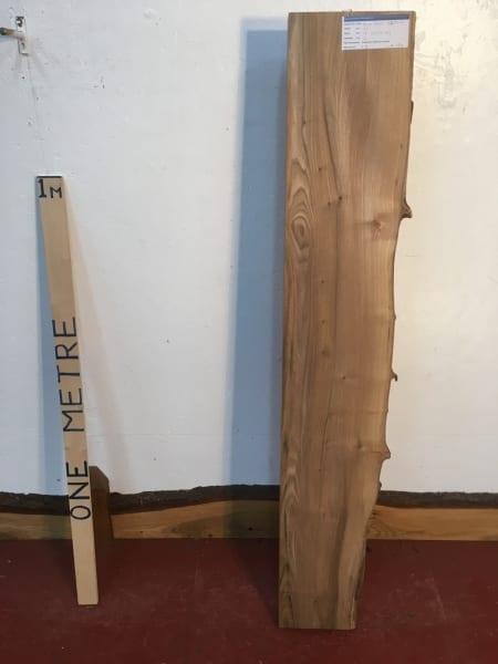 ELM 1375A-2 Single Waney Natural Live Edge Slab Planed Hardwood Kiln Dried Seasoned Board Thickness 7cm Shelf Fireplace Mantel