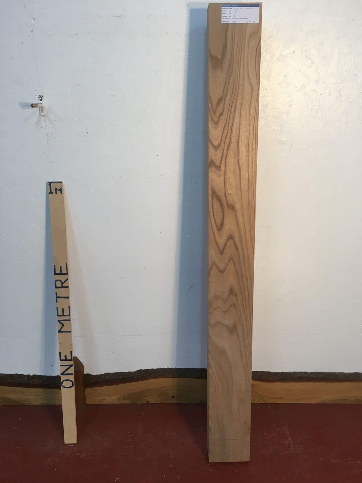ELM 1385-9 PAR Planed All Round Square Edge Kiln Dried Seasoned Hardwood Timber Board Thickness 7cm Shelf Mantel