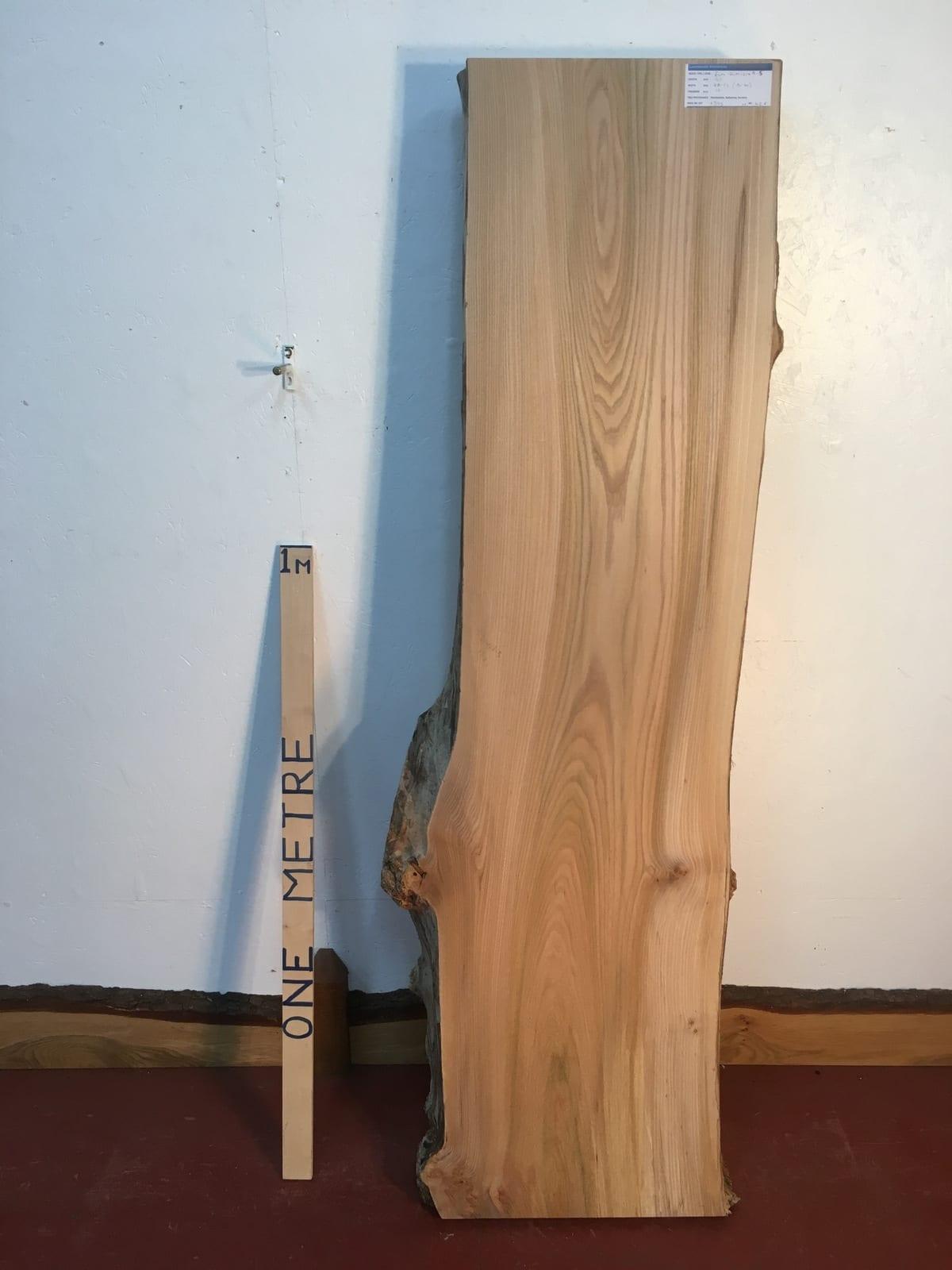 ELM 1214A-5 Natural Waney Live Edge Slab Planed Hardwood Kiln Dried Seasoned Board 10cm thick