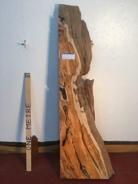 YEW 0934B-0 Natural Waney Live Edge Slab Wood Board thickness 11.5cm Kiln Dried Planed Seasoned Hardwood Wildwood