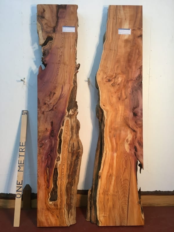 YEW REVERSE BOOKMATCHED RIVER SET 0934B-3/4 Single Waney Natural Live Edge Planed Hardwood Kiln Dried Seasoned Board thickness 11.5cm Wildwood River Tables