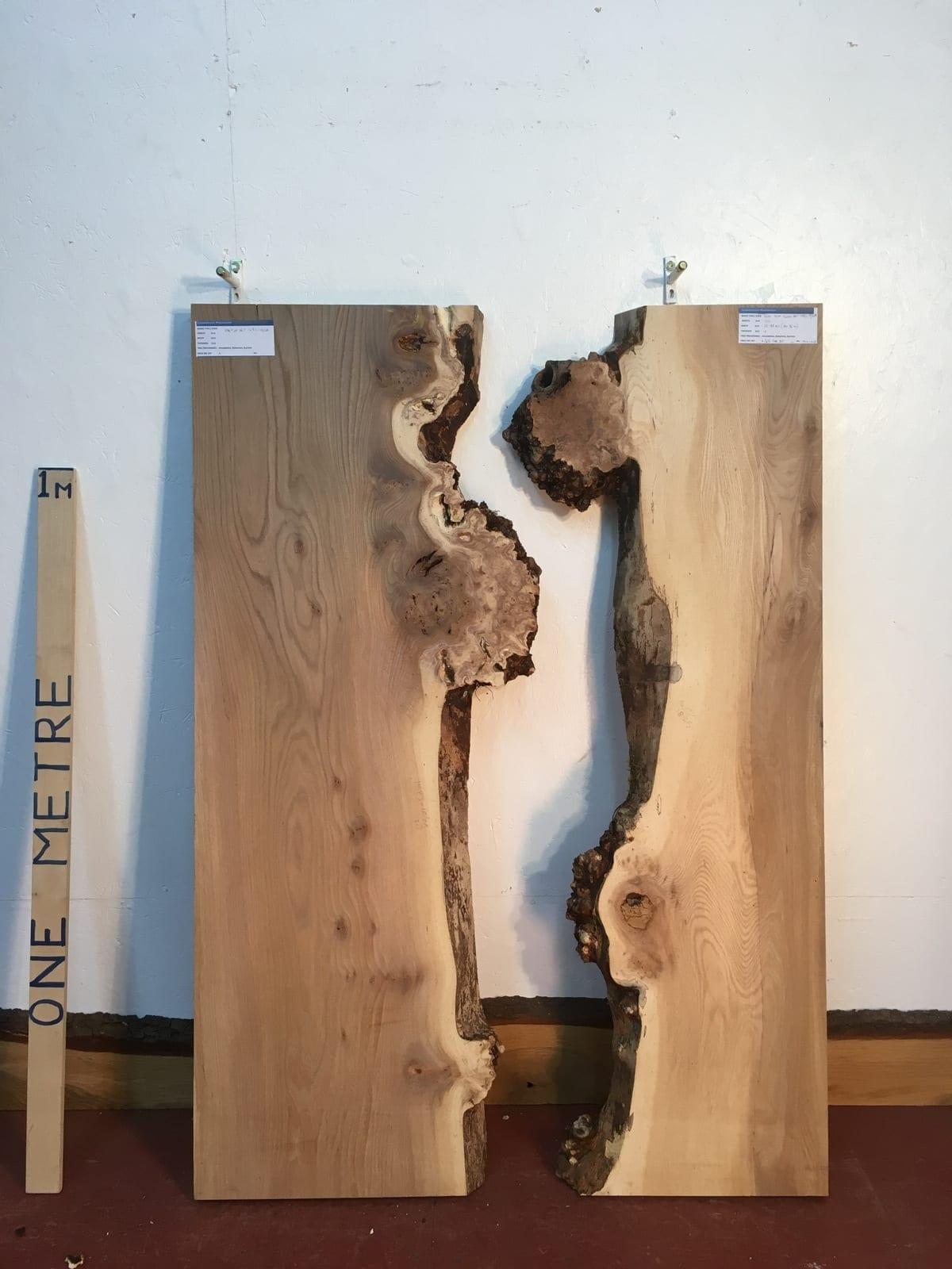 BURRY ELM 1483-1B/2B River Set Single Waney Natural Live Edge Slabs Planed Kiln Dried Seasoned Hardwood Board Thickness 4cm Wildwood River Tables