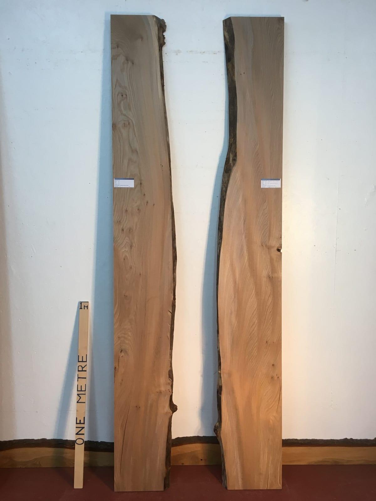 ELM 1476-3 River Set Single Waney Natural Live Edge Slabs Planed Kiln Dried Seasoned Hardwood Board Thickness 4cm Wildwood River Tables