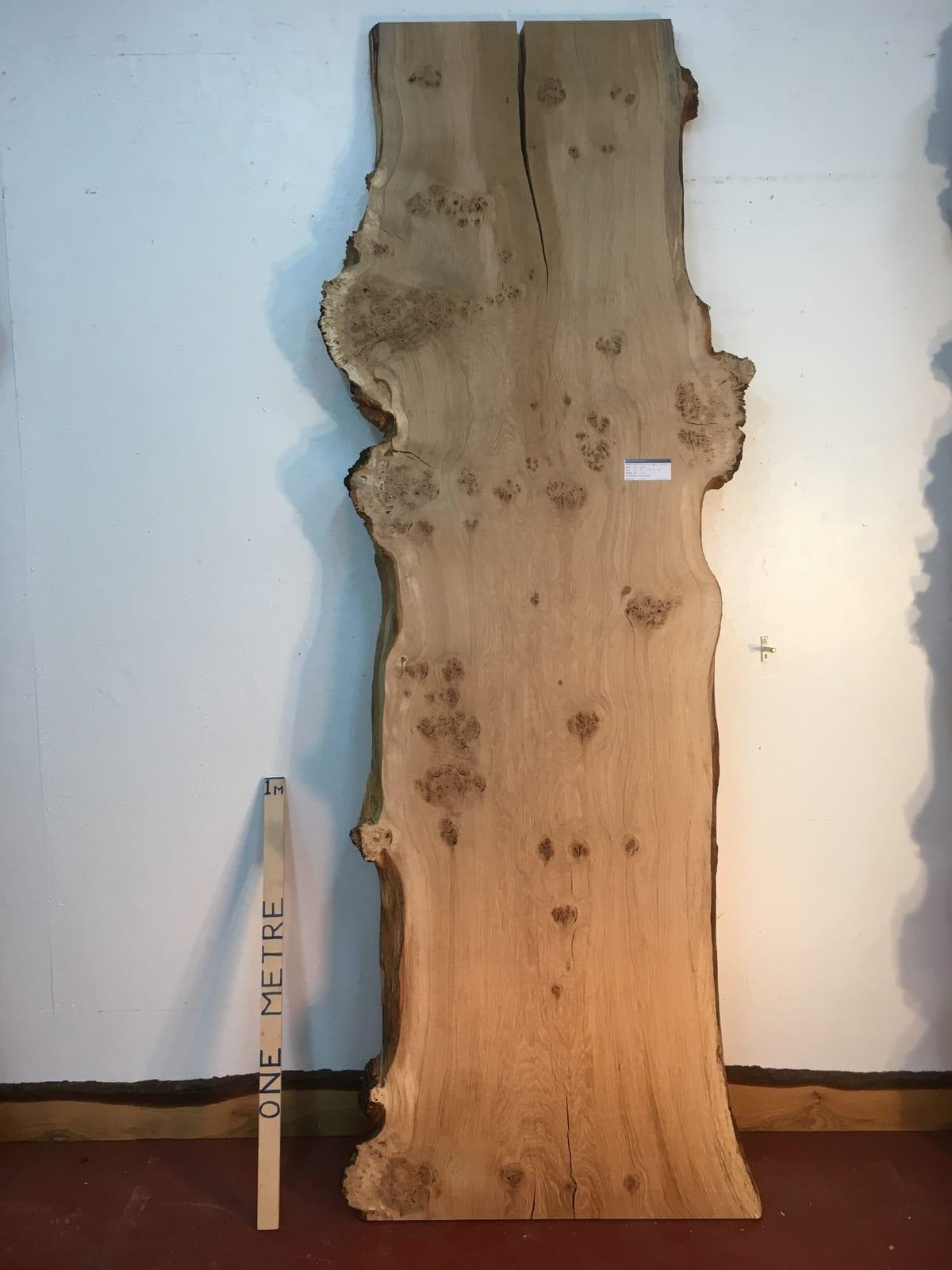 BURRY OAK 1089A-8 Natural Waney Live Edge Slab Board Thickness 4.5cm Kiln Dried Planed Seasoned Hardwood Wildwood Dining Coffee Table Top