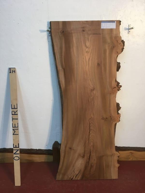 BURRY ELM 1536D-4B Natural Waney Live Edge Slab Planed Hardwood Kiln Dried Seasoned Wildwood Board 4cm Thick