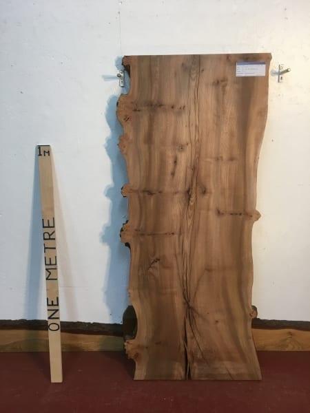 BURRY ELM 1536D-5B Natural Waney Live Edge Slab Planed Hardwood Kiln Dried Seasoned Wildwood Board 4cm Thick