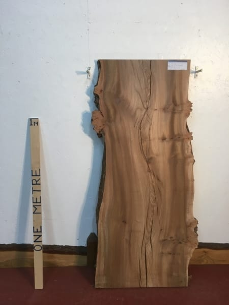 BURRY ELM 1536D-5A Natural Waney Live Edge Slab Planed Hardwood Kiln Dried Seasoned Wildwood Board 4cm Thick