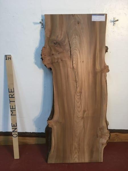 BURRY ELM 1536D-4A Natural Waney Live Edge Slab Planed Hardwood Kiln Dried Seasoned Wildwood Board 4cm