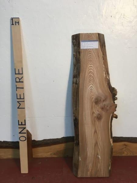ELM 1472A-1A Natural Waney Live Edge Slab Planed Hardwood Kiln Dried Seasoned Board 4.5cm Thick Offcut