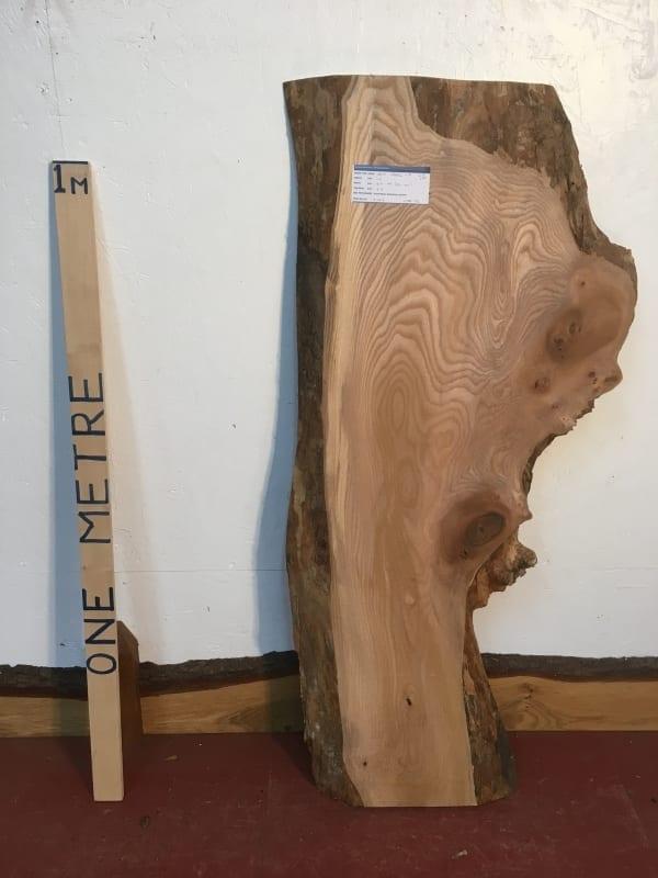 ELM 1546C-7 Natural Waney Live Edge Slab Planed Hardwood Kiln Dried Seasoned Board 4.5cm Thick Offcut Wildwood