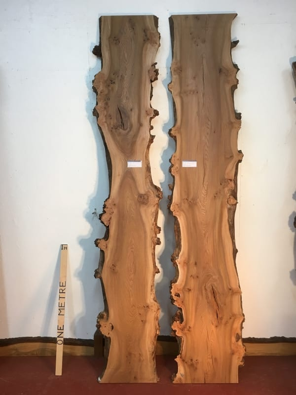 BURRY ELM REVERSE BOOKMATCHED SET 1536D-7/8 Single Waney Live Edge Slab Planed Hardwood Kiln Dried Seasoned Board 4cm Thick Wildwood River Tables