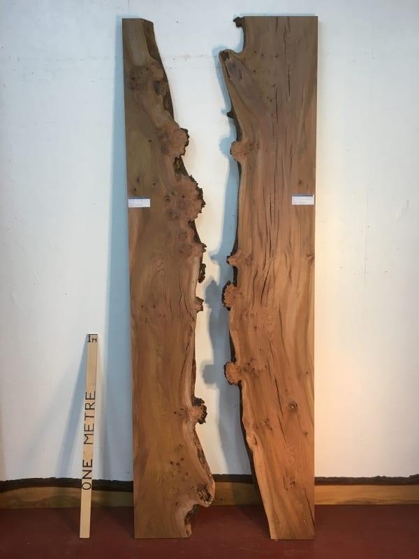 BURRY ELM REVERSE BOOKMATCHED SET 1536P-4/5 Single Waney Live Edge Slab Planed Hardwood Kiln Dried Seasoned Board 4cm Thick Wildwood River Tables Wildwood